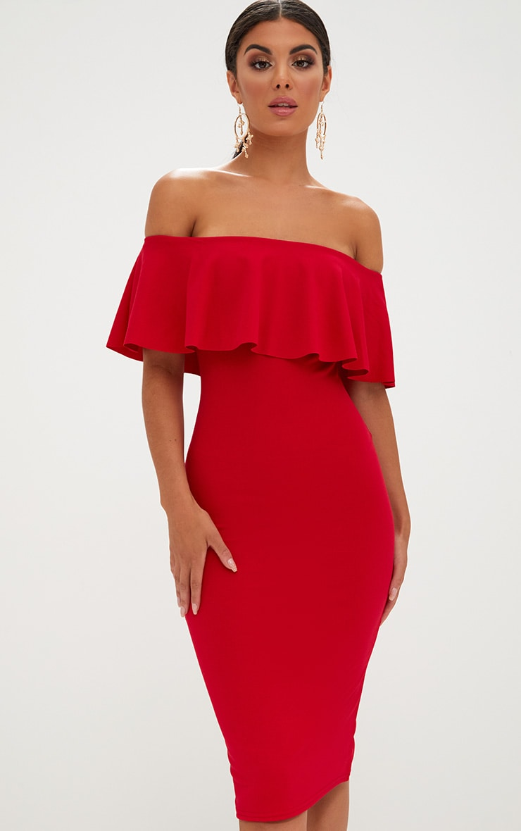 Red Bardot Frill Midi Dress  1