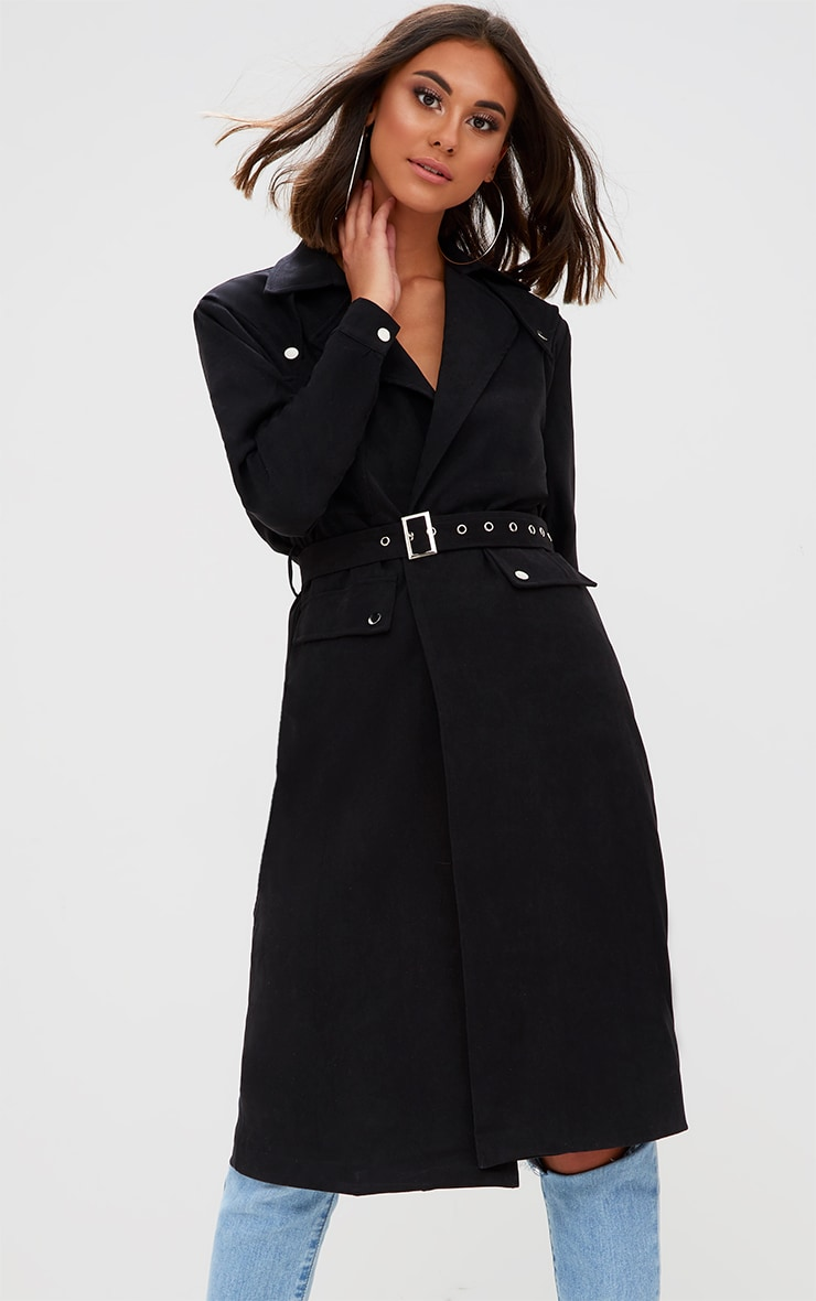 Black Longline Belted Trench Coat 1