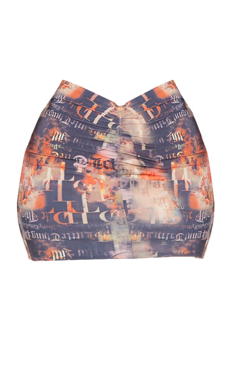 PRETTYLITTLETHING Monogram Flame Print Slinky Ruched Front Mini Skirt 4
