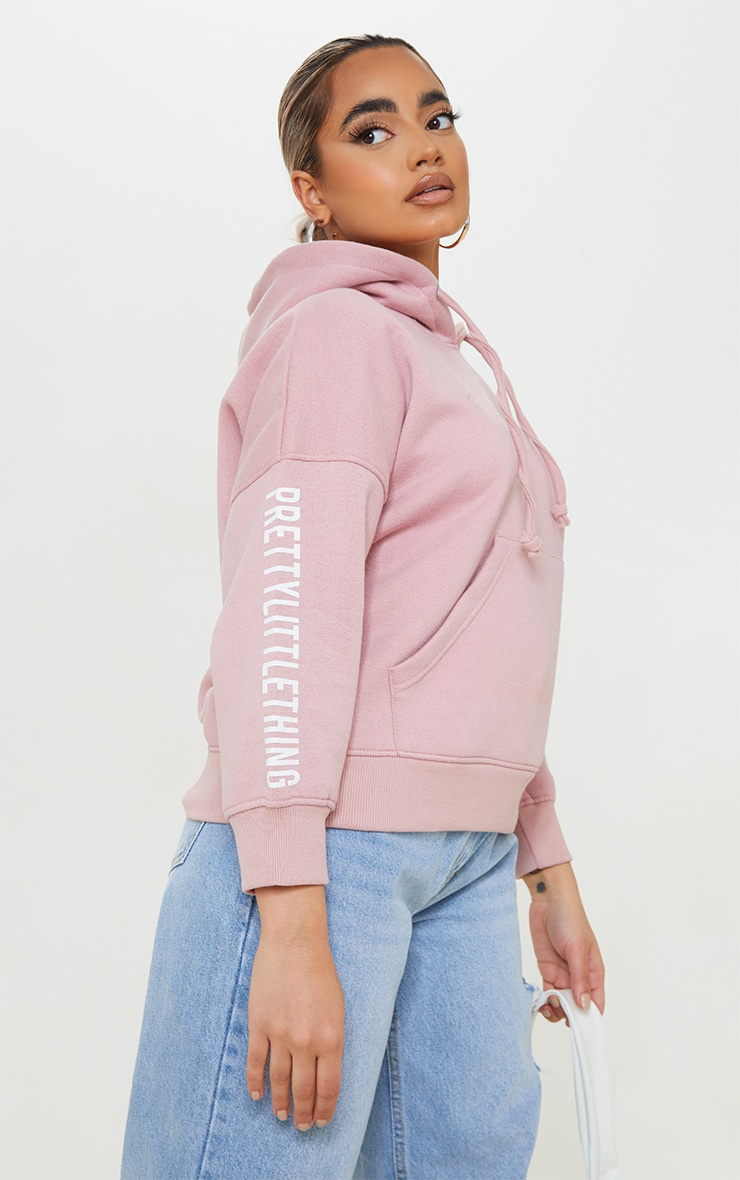 PRETTYLITTLETHING Petite Pale Pink Graphic Hoodie 4