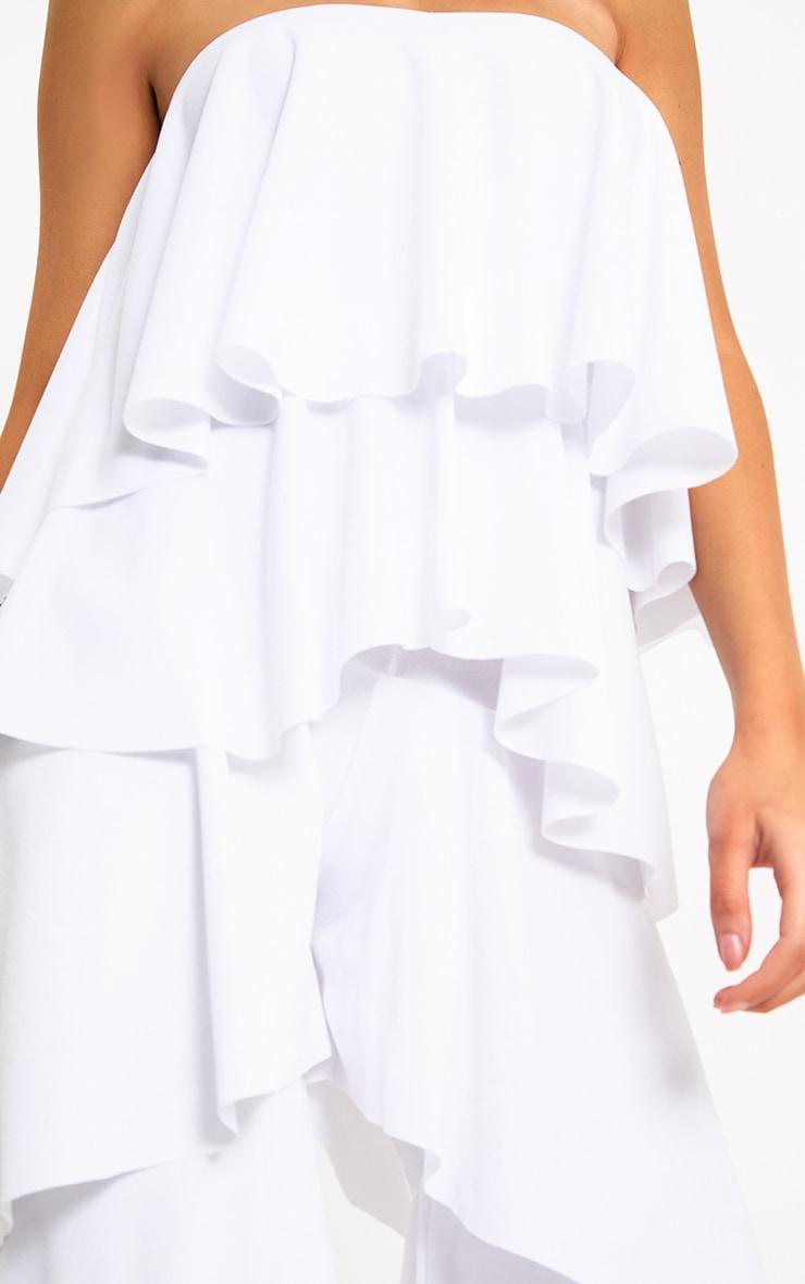 White Bardot Frill Detail Jumpsuit 5