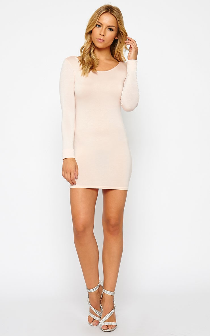 Basic Nude Long Sleeve Jersey Mini Dress 3