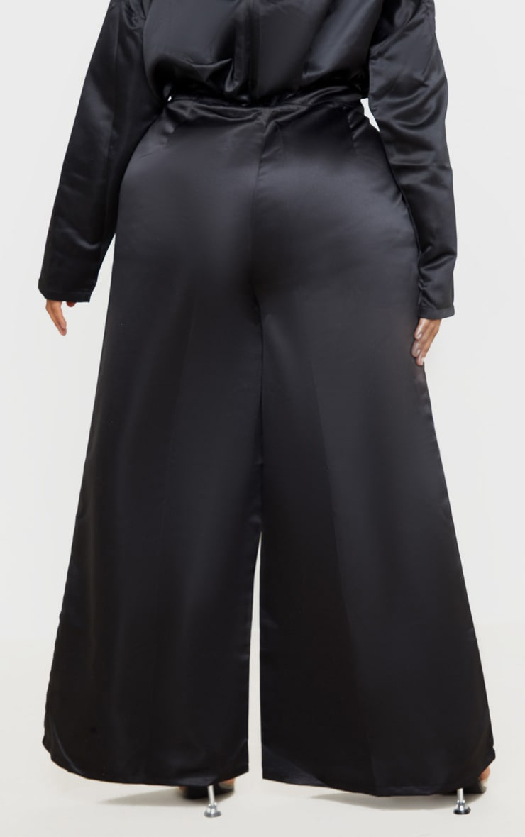Plus Black Structured Satin Wide Leg Trouser 3