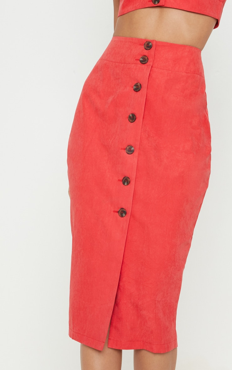 Red Faux Suede Button Front Midi Skirt 5