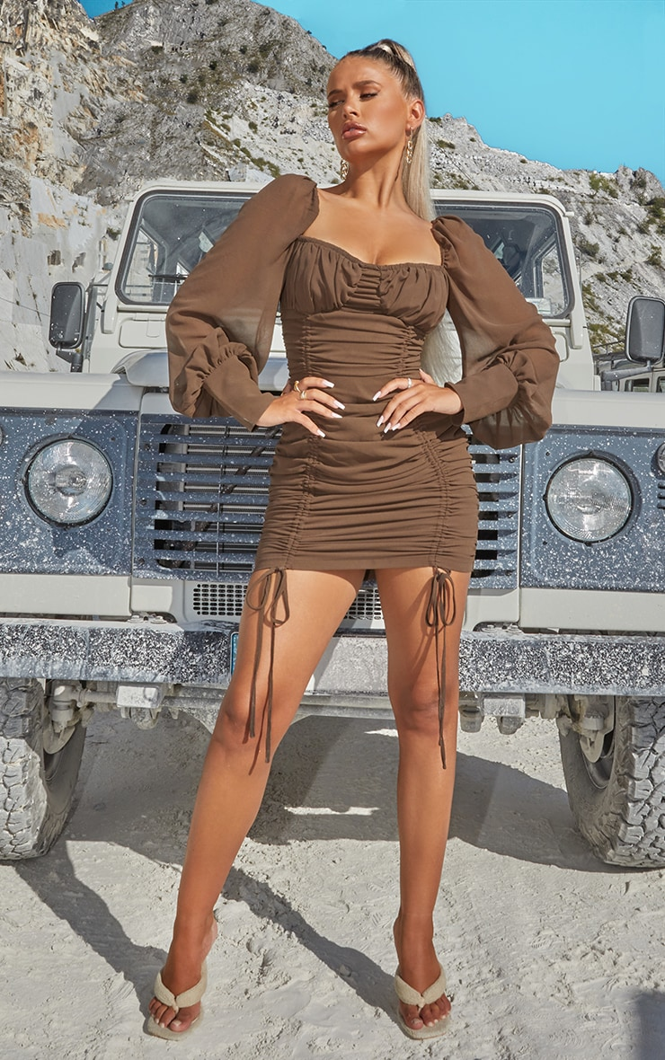 Taupe Chiffon Long Sleeve Ruched Skirt Bodycon Dress