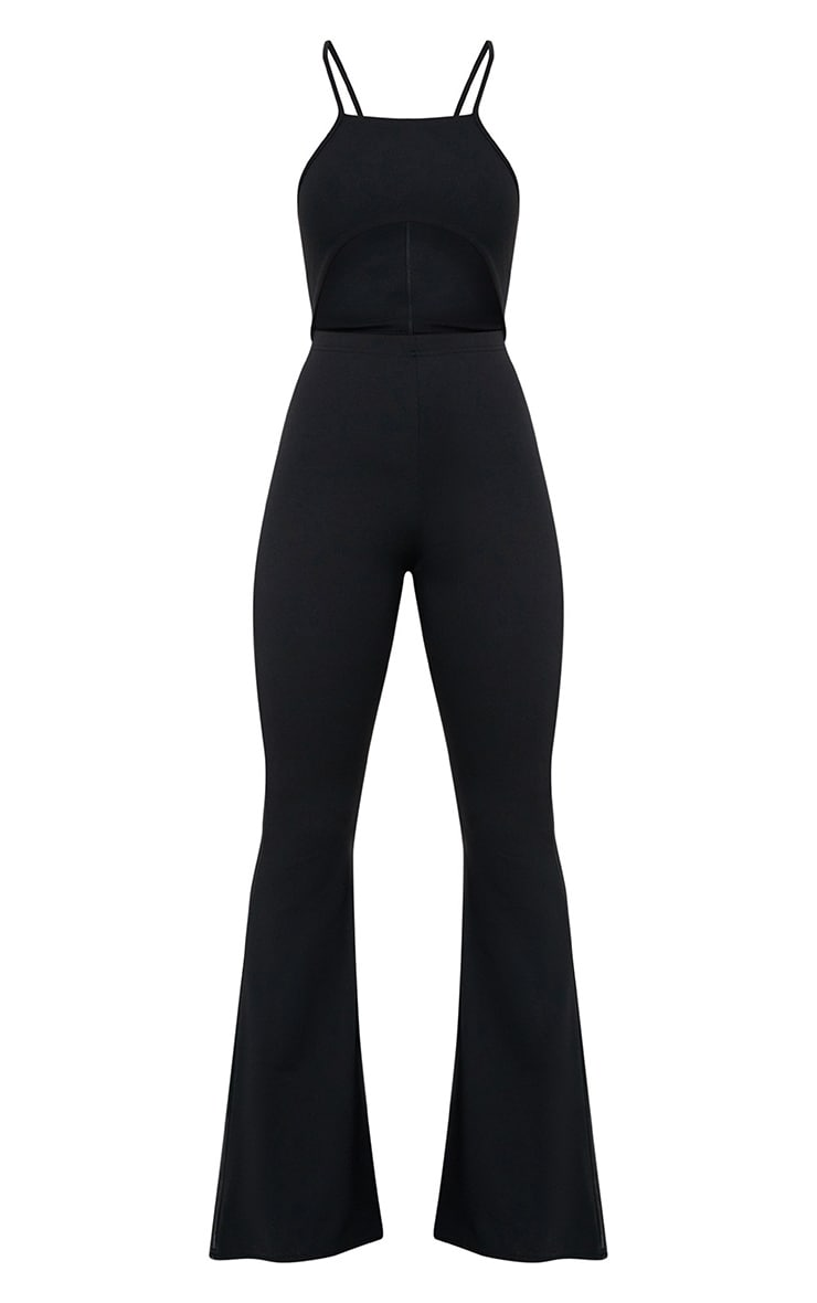 Black Open Middle Wide Leg Jumpsuit 3