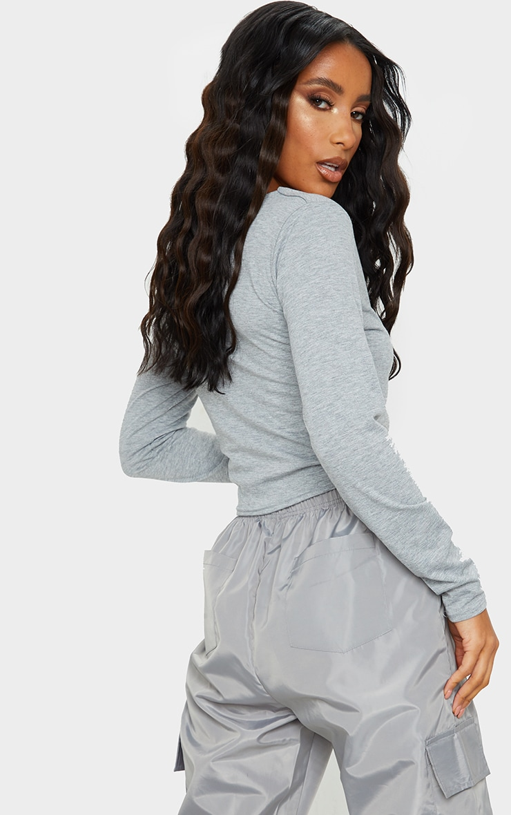 Grey Long Sleeve Button Front Crop Top 2