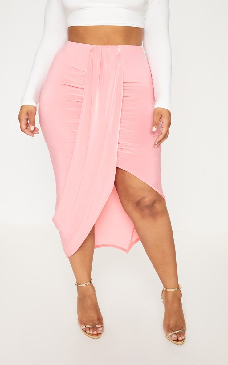 Plus Coral Slinky Ruched Wrap Front Midi Skirt 2