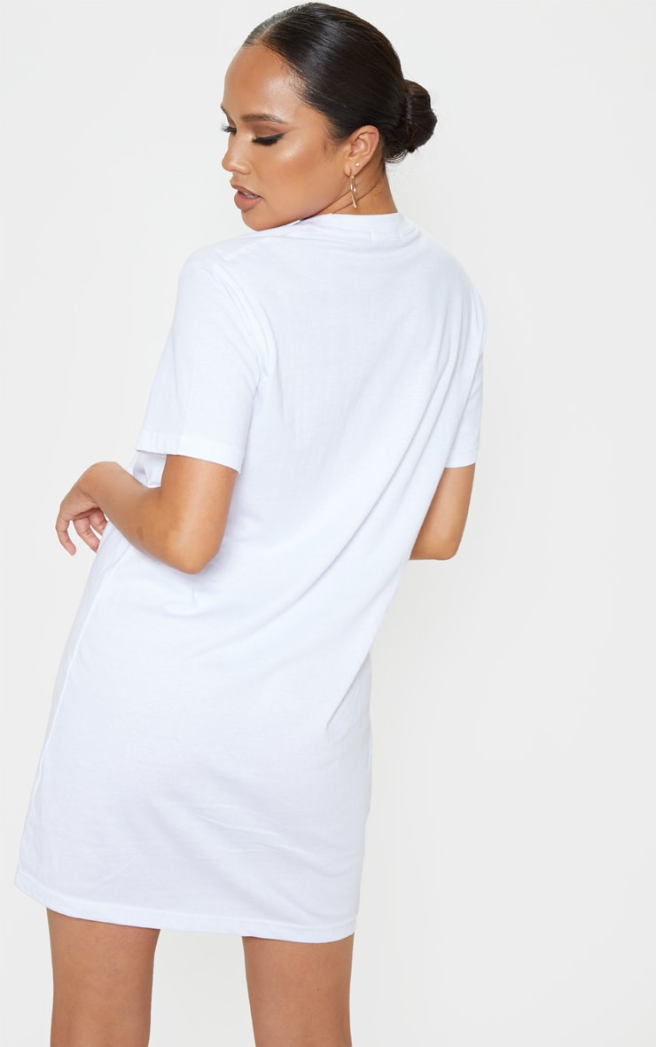 White Yes Slogan Embroidered Oversized T Shirt Dress 2