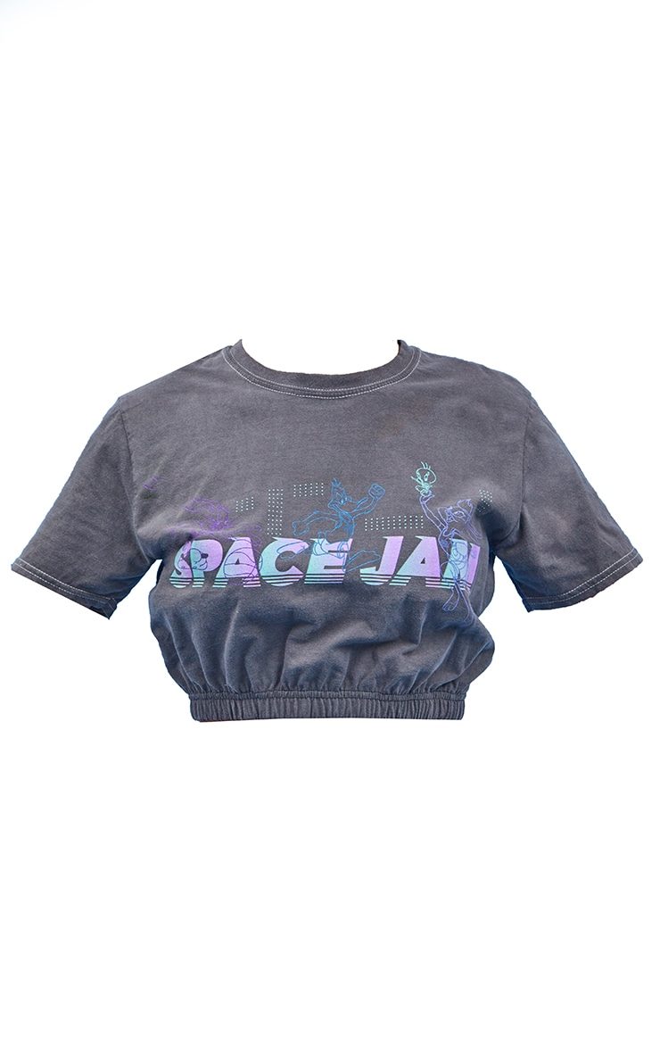 Charcoal Space Jam Printed Elasticated Crop Washed T Shirt 5