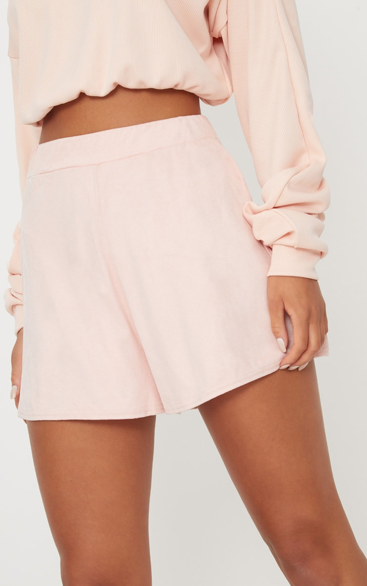 Pale Grey Faux Suede High Waisted Short 6