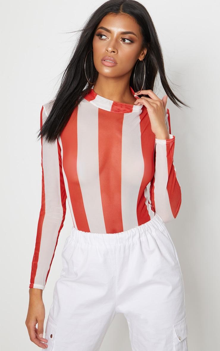 Red Printed Mesh Long Sleeve Bodysuit