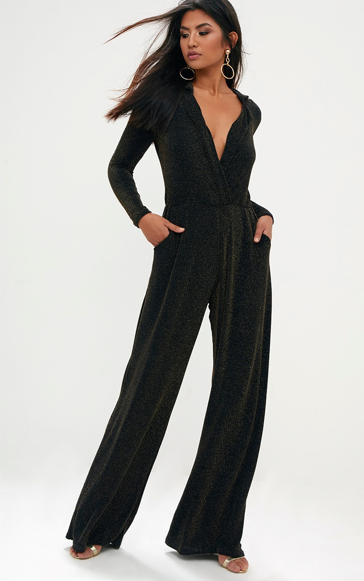 Black Lurex Plunge Jumpsuit 1