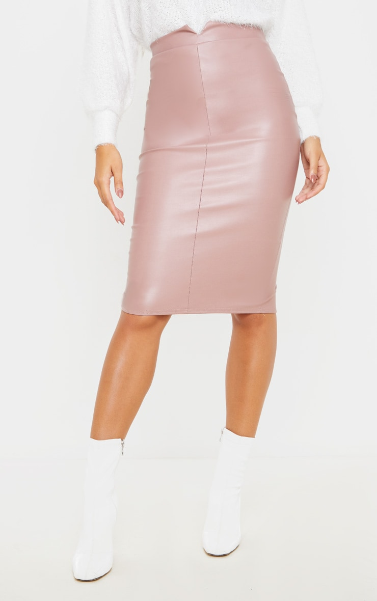 Eva Rose Faux Leather Panel Midi Skirt 2