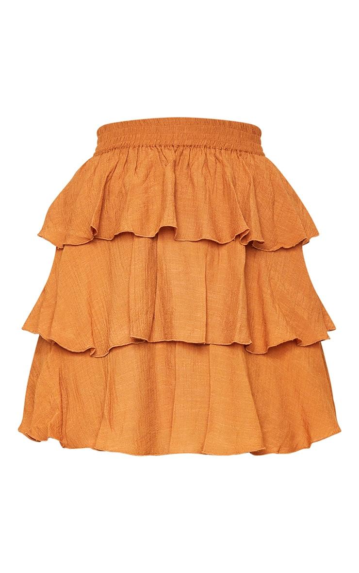 Rust Woven Tiered Ruffle Skirt 6