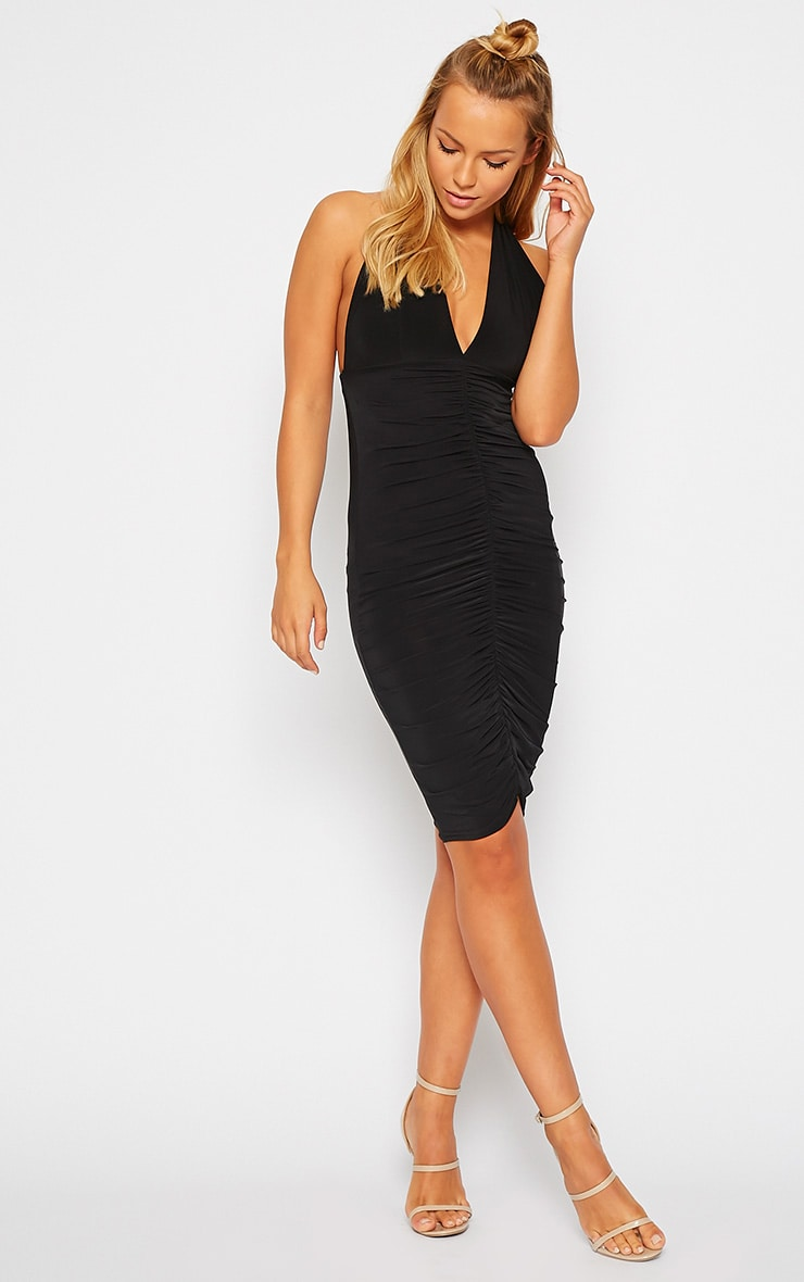 Lucienne Black Plunge Ruched Front Dress 3