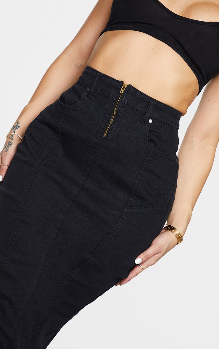 Shape Black Seam Detail Zip Denim Midi Skirt 4