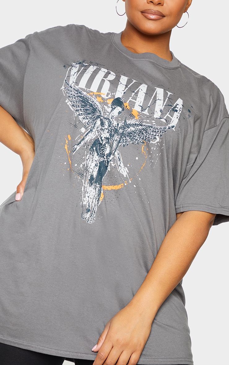 Plus Grey Nirvana Wings Print T Shirt 5