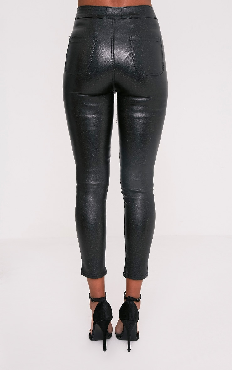 Georgea Black Glitter Skinny Trousers  5