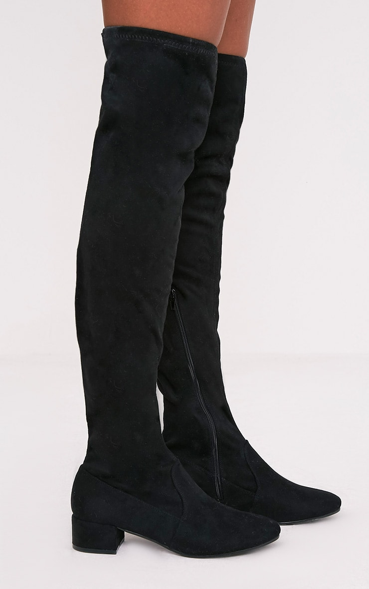 Esmay Black Faux Suede Thigh High Boots 3