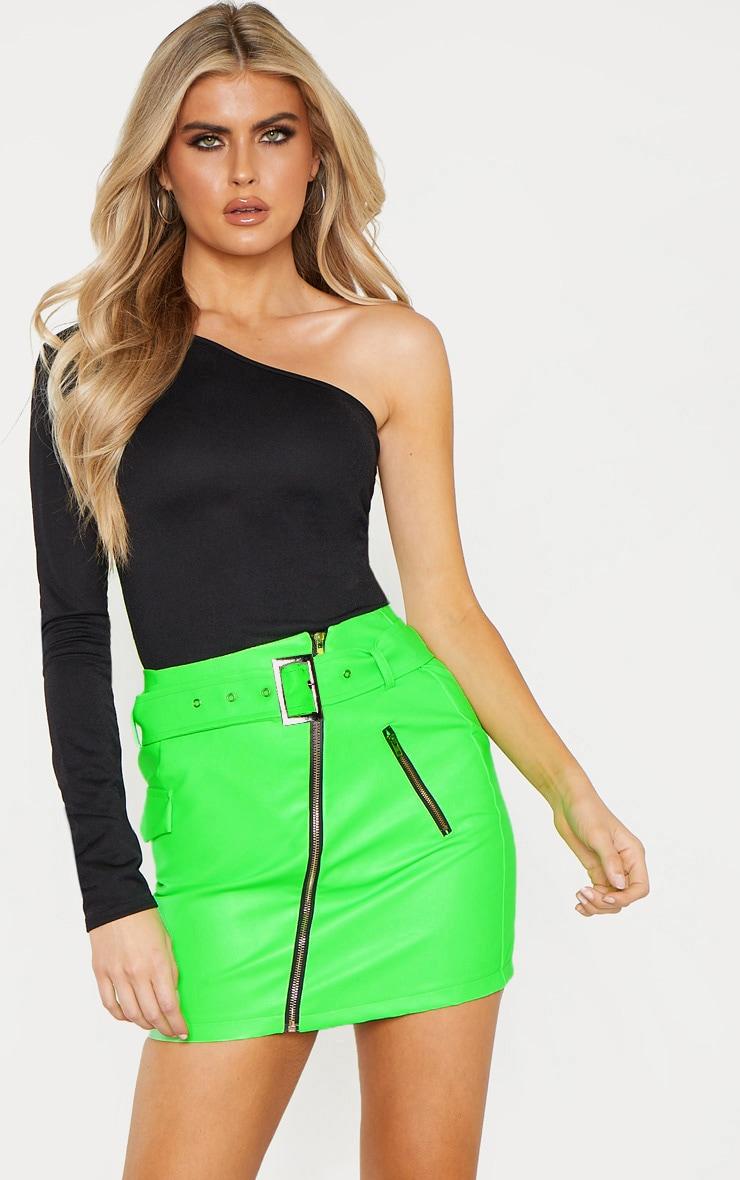 Tall Neon Green Belt Detail Pu Mini Skirt 1