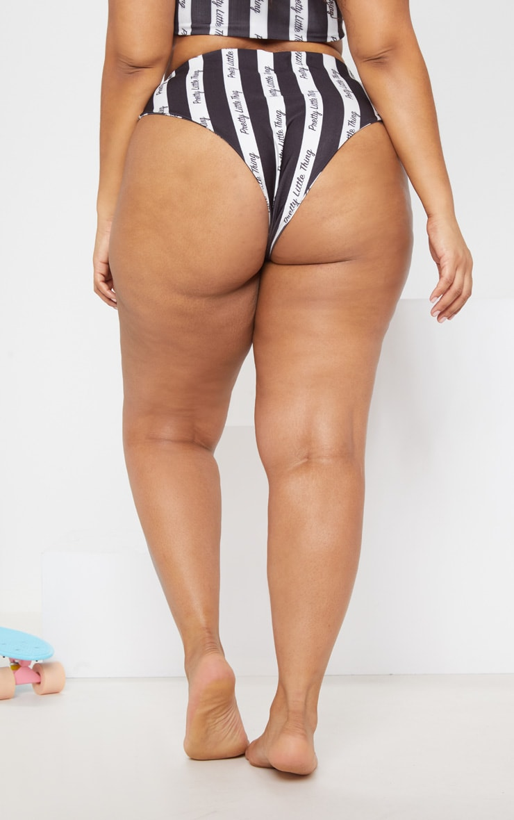 PRETTYLITTLETHING Plus Mono Stripe Bikini Bottom 5