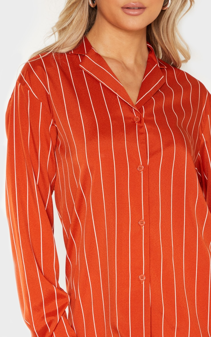 Tall Orange Stripe Print Long Sleeve Shirt 5
