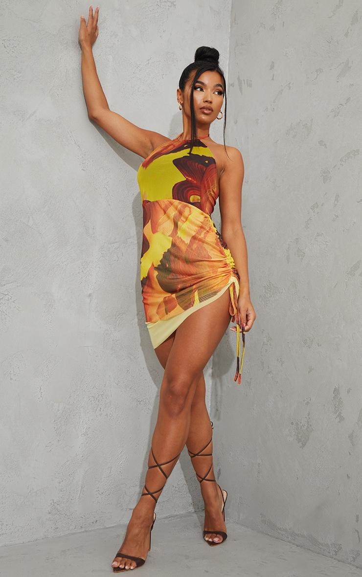 Robe moulante dos nu orange imprimé abstrait en mesh superposé 3