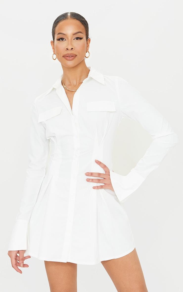 Tall - Robe chemise cintrée blanche à poches cargo 1
