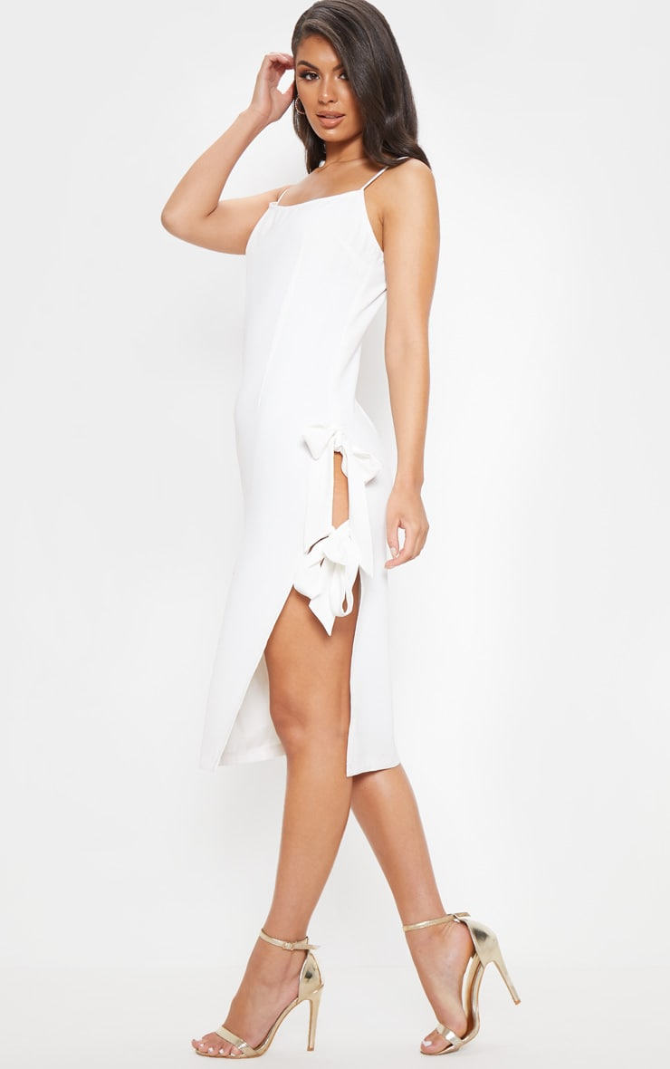 White Split Side Midi Dress 5