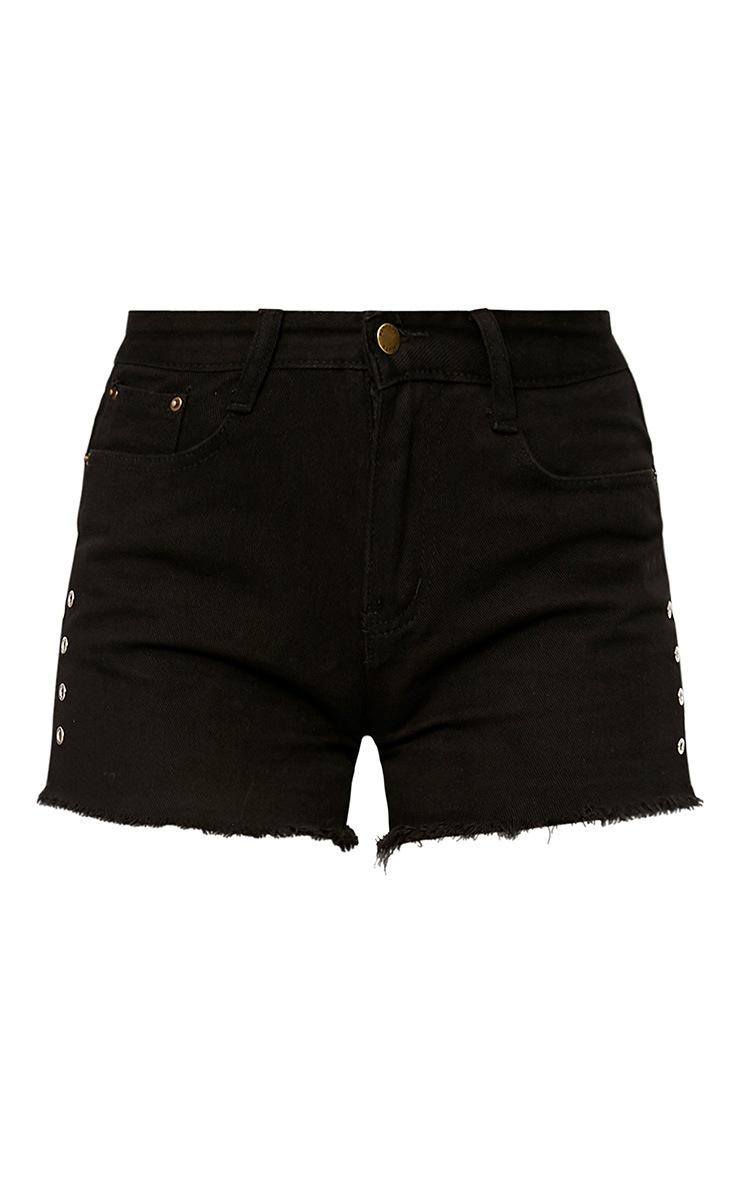 Black Eyelet Detail Denim Shorts 2