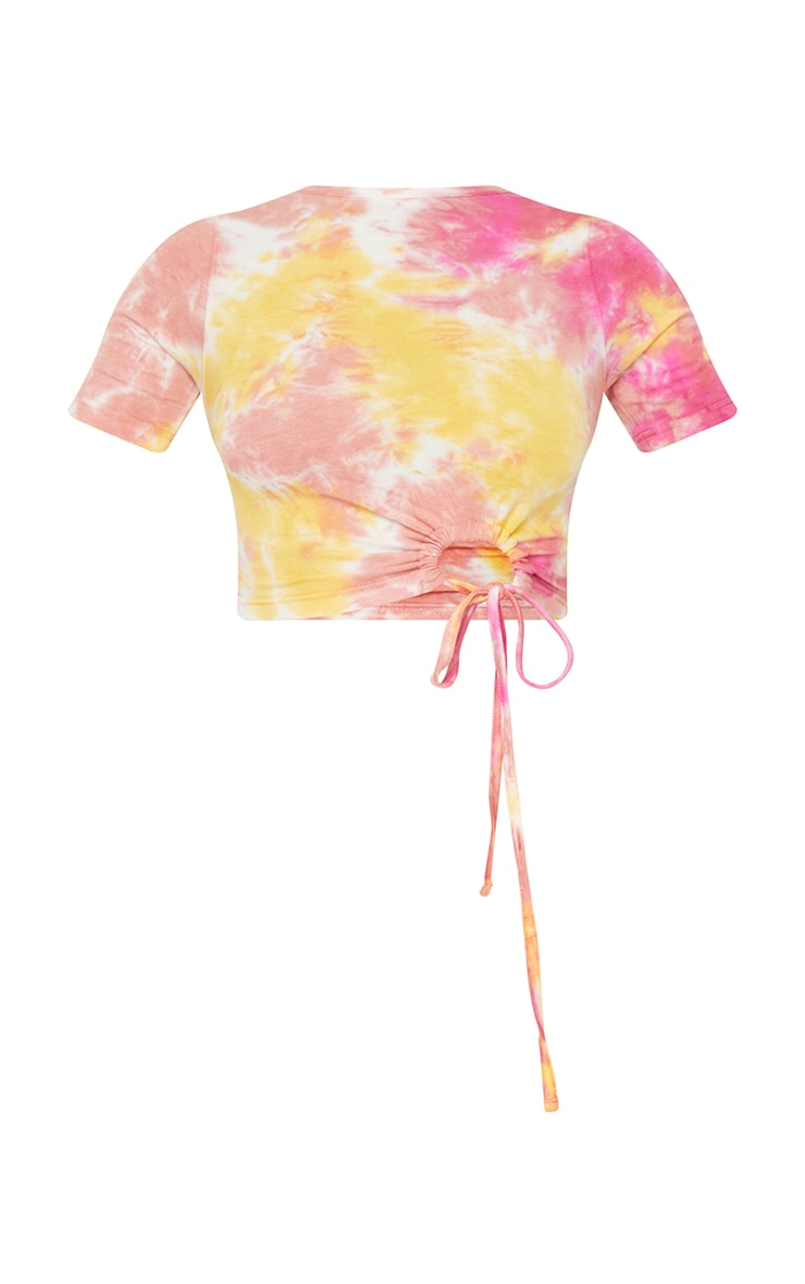 Pink Cotton Tie Dye Ring Ruched Crop Top 5
