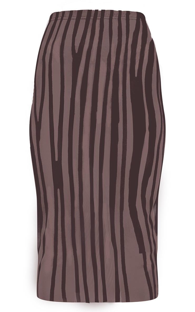 Brown Printed Mesh Midaxi Skirt 3
