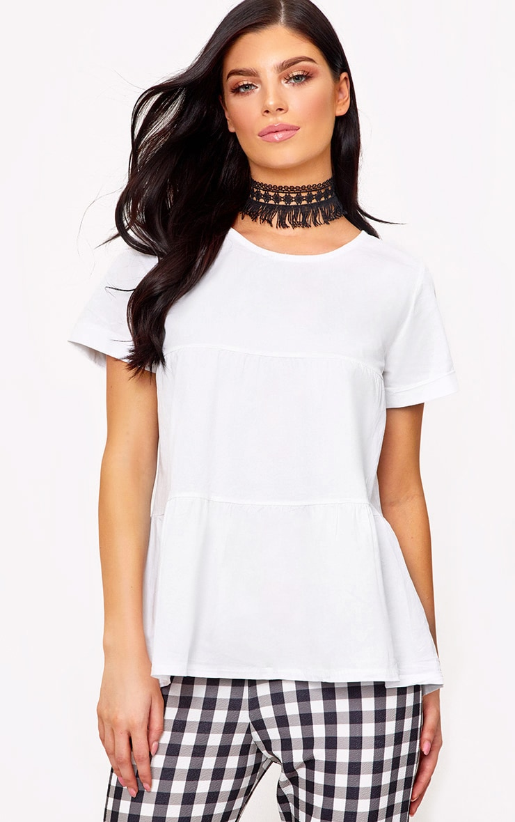 White Crew Neck Frill Hem Shortsleeve Shirt 1