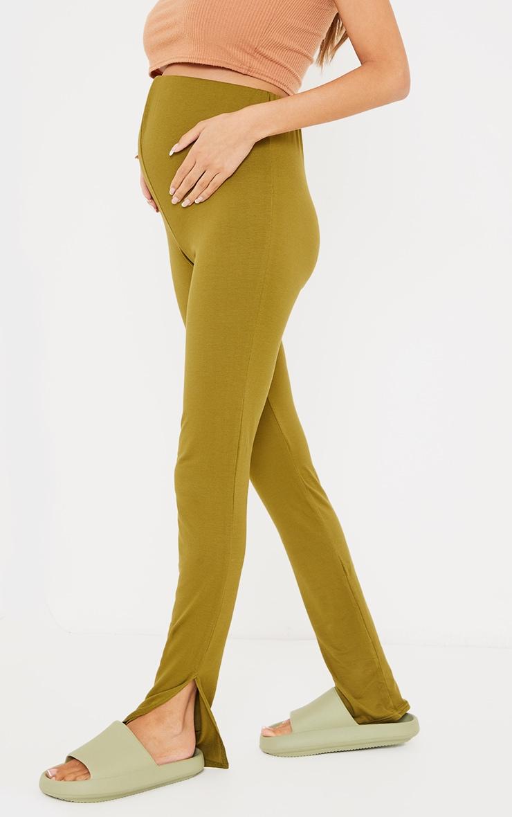 Maternity Olive Basic Split Hem Leggings 2