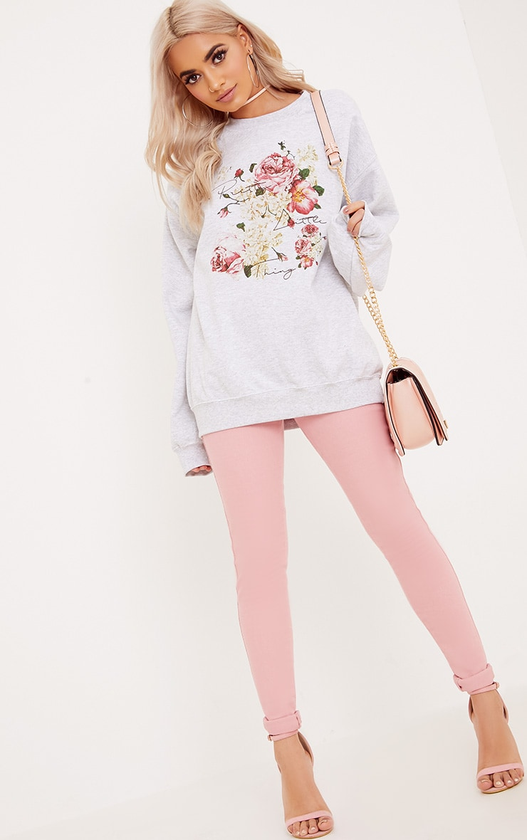PrettyLitteThing Grey Floral Print Sweater 4