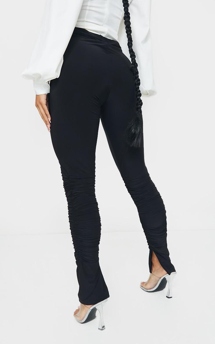 Black Slinky Ruched Leg Split Hem Skinny Pants 3