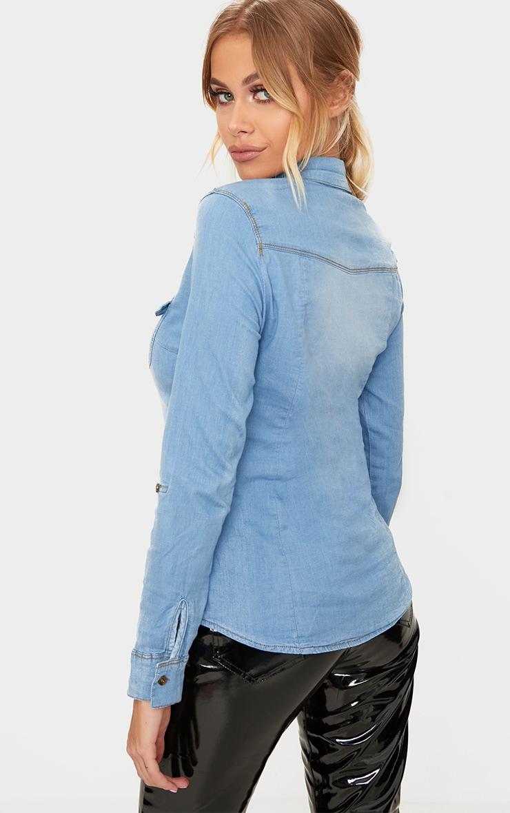 Mid Wash Pocket Detail Denim Shirt 2