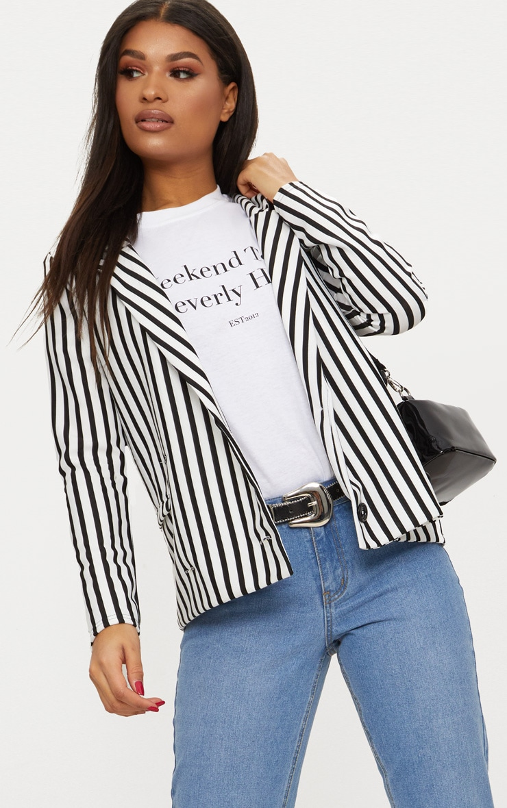 Black Monochrome Stripe Double Breasted Blazer 1