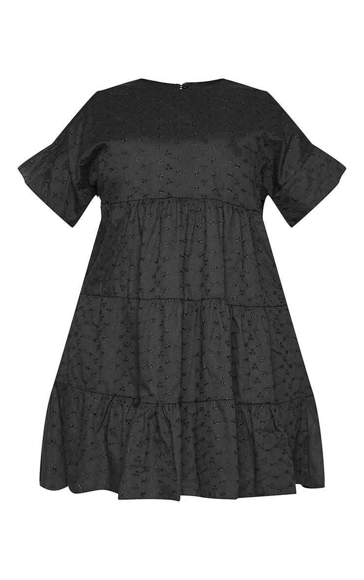 Plus Black Broderie Anglaise Smock Dress 6