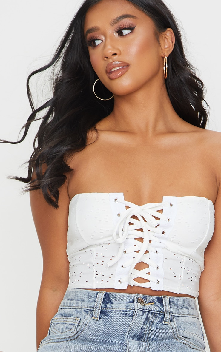 Petite Cream Broderie Anglaise Lace Up Bandeau Top 4