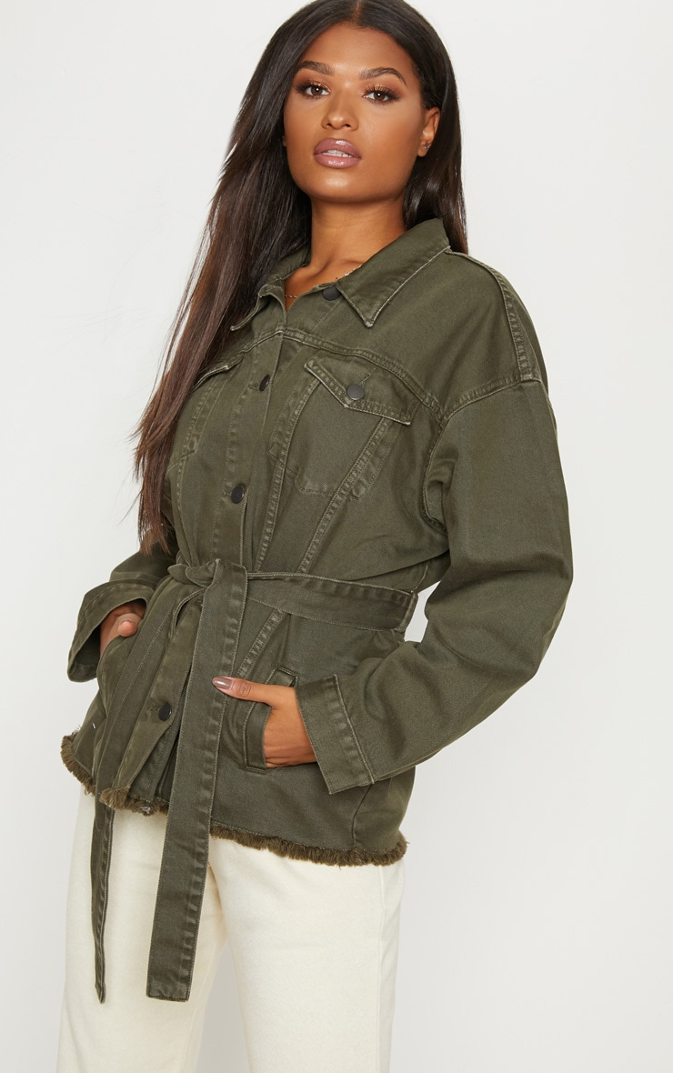Khaki Tie Waist Oversized Denim Jacket  1