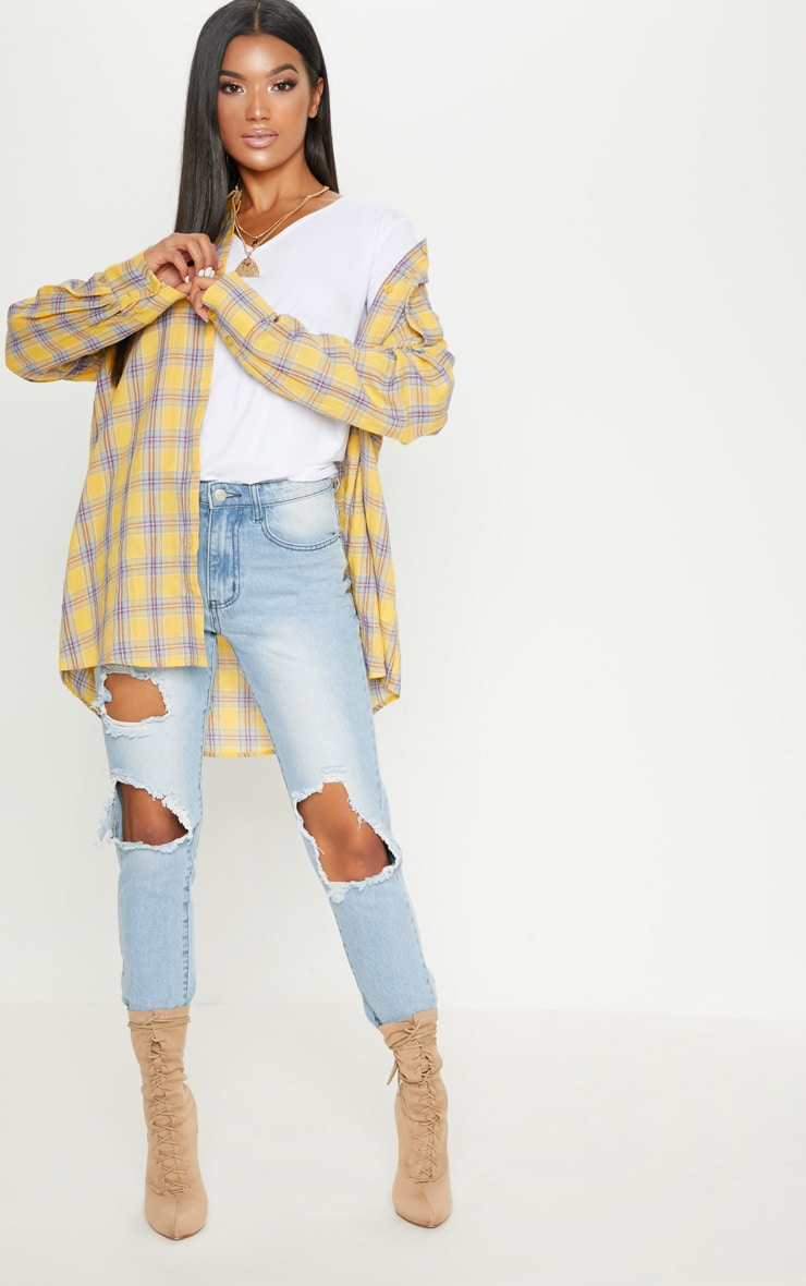 Pale Yellow Check Oversized Shirt 4