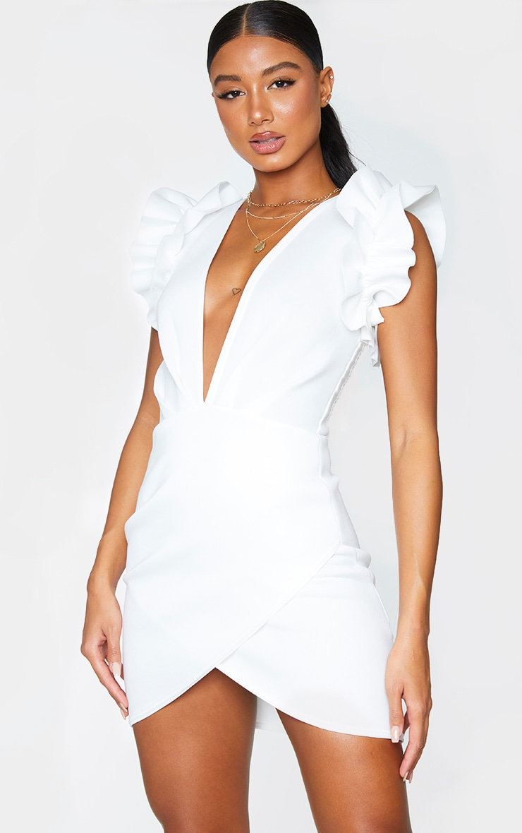White Scuba Frill Sleeve Plunge Bodycon Dress 3