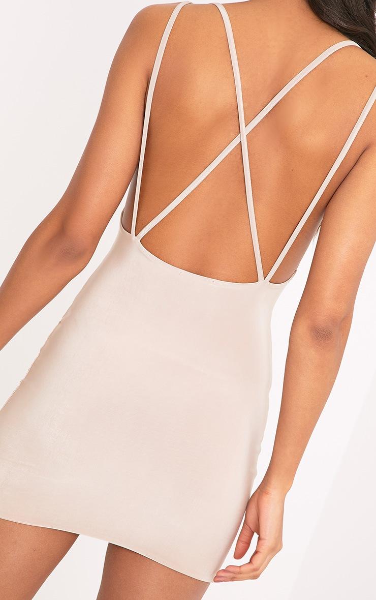 Eleonora Nude Strappy Back Cowl Neck Bodycon Dress 5
