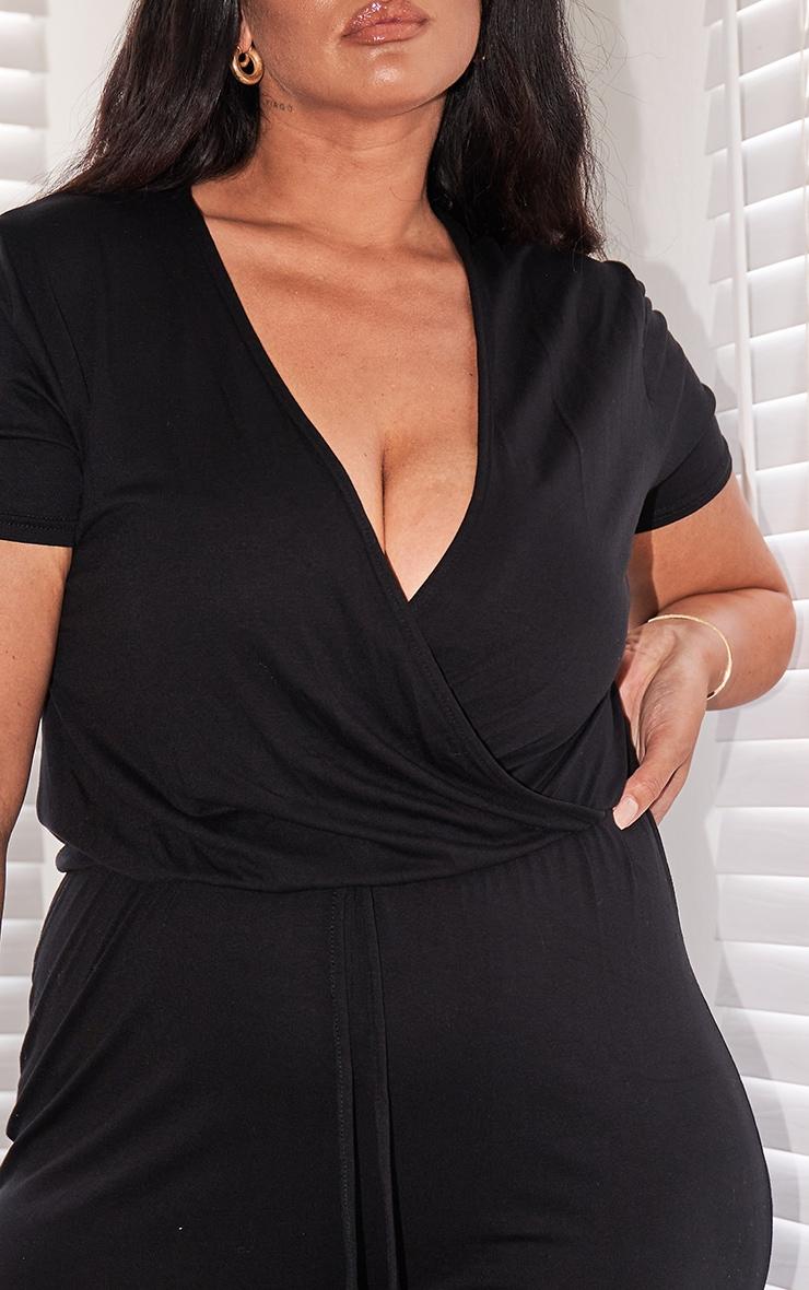 Plus Black Jersey Wrap Jumpsuit 3