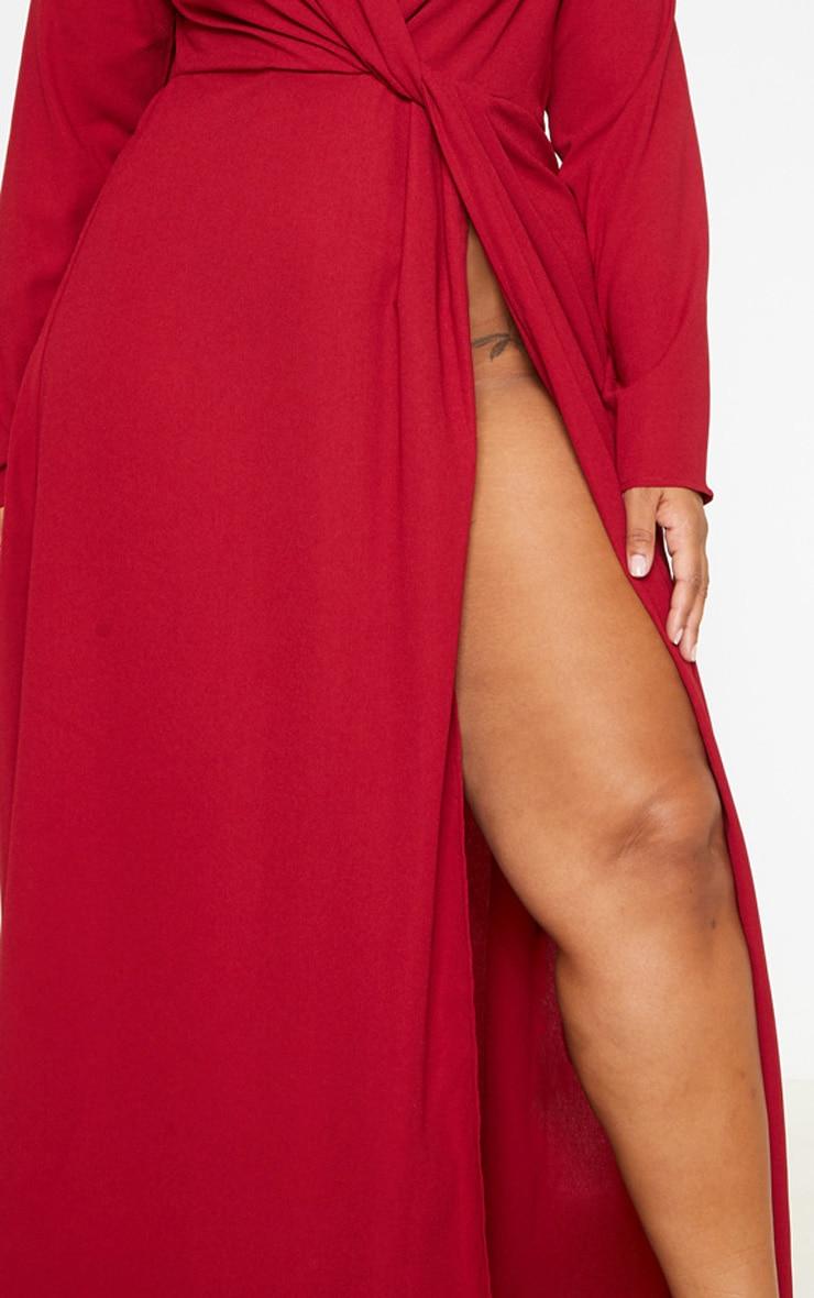Plus Burgundy Twist Front Maxi Dress 5