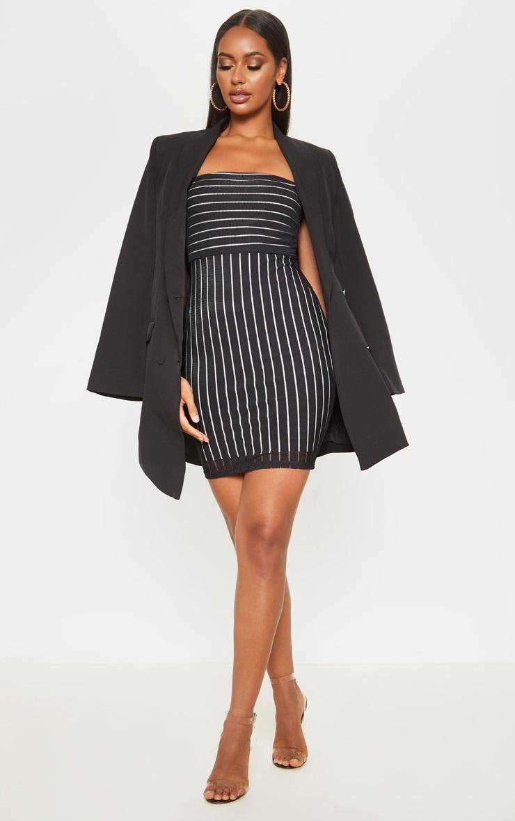 Black Striped Mesh Strappy Bodycon Dress 4