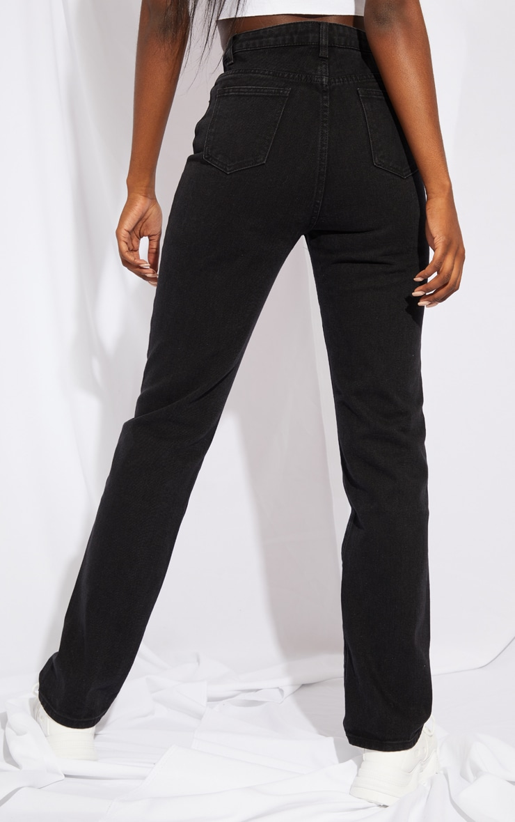 PRETTYLITTLETHING Tall Black Straight Leg Jean 3