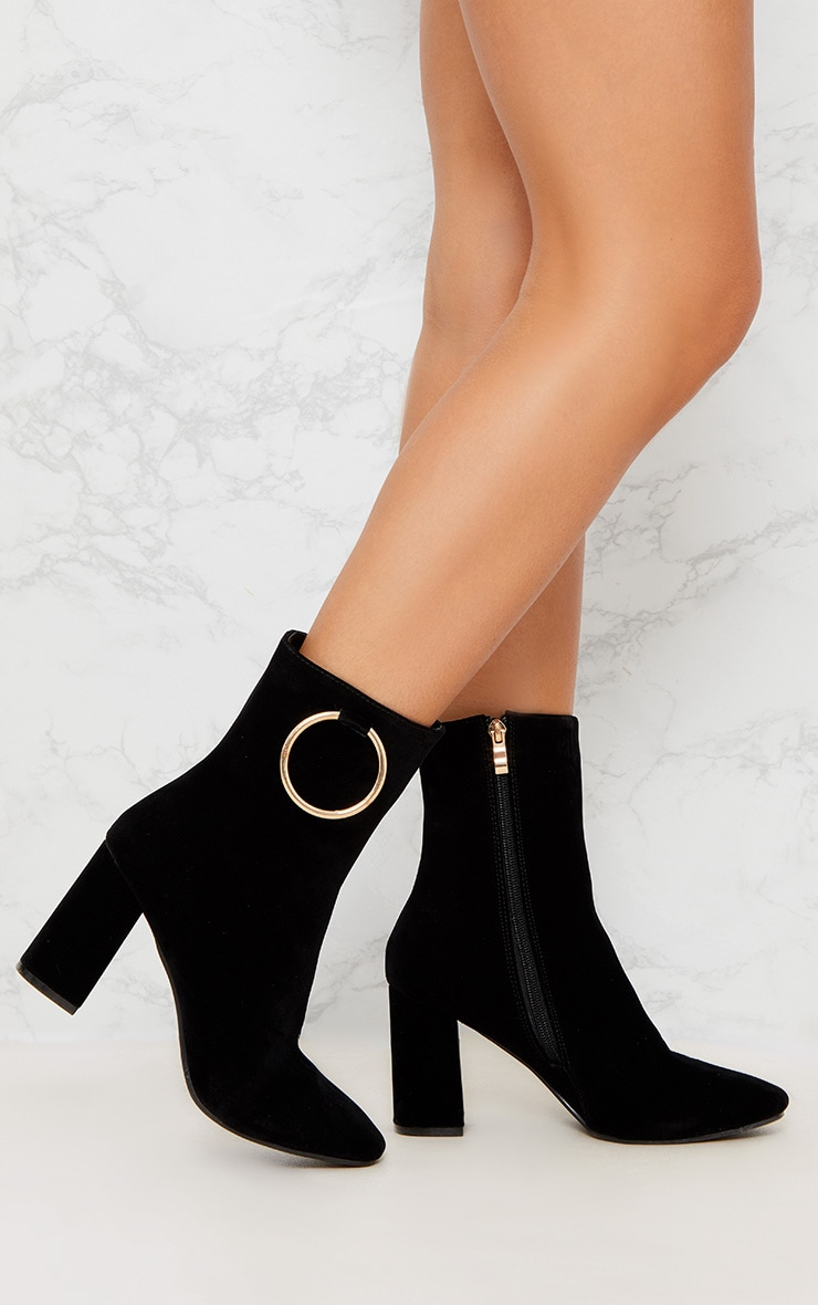 Black Ring Side Block Heel Boot 1